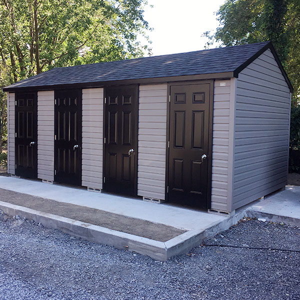 Multi-purpose sheds for duplex, triplex or multiplex requiring external storage sheds to ensure safety and protection.