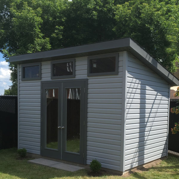 Single pitch roof shed ideal for small spaces. All of our sheds are made in Canada.